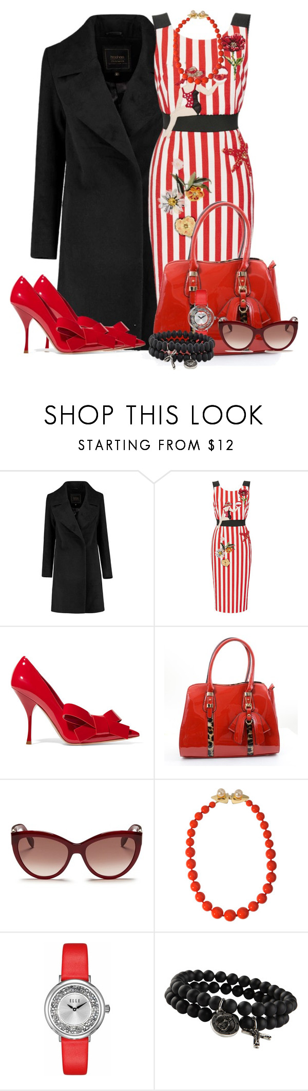 """Rockabilly Glam"" by ljbminime ❤ liked on Polyvore featuring Dolce&Gabbana, Miu Miu, Alexander McQueen, Helene Zubeldia, ELLE Time & Jewelry, ALDO, women's clothing, women, female and woman"