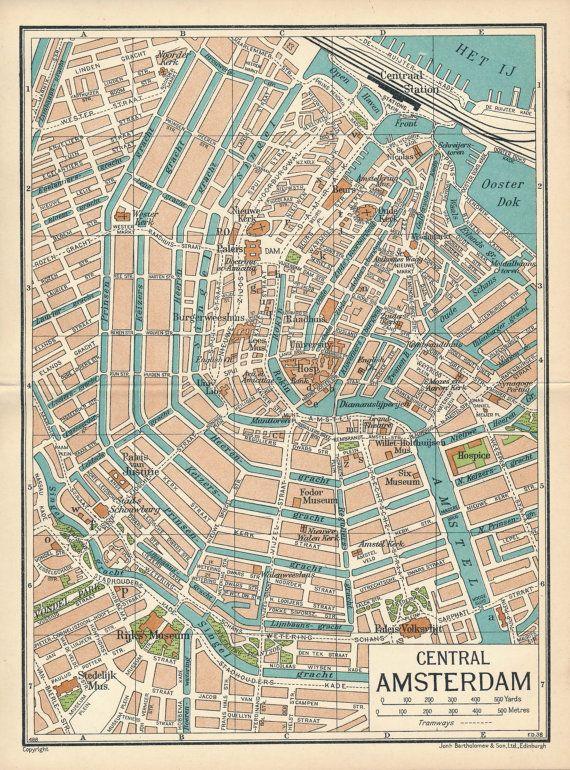 Cartina Amsterdam.1933 Amsterdam Netherlands Holland Vintage Map Etsy Amsterdam Netherlands Vintage Map Antique Maps