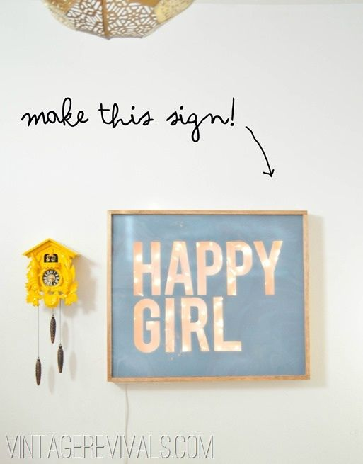 Light up the room with this DIY light up wall art! Happy Girl. #light #diy