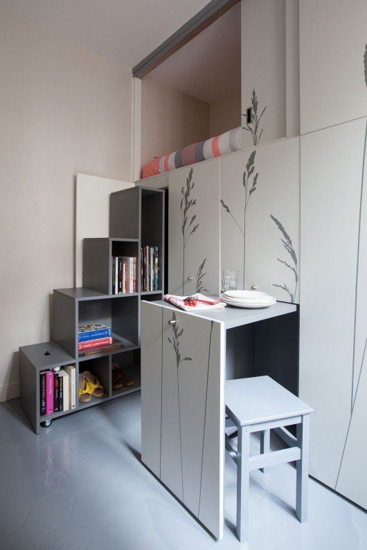 Truly Tiny 4 Apartments Under 100 Square Feet I Like The Idea Of Cabinets On Wheels That Come Out For A Table And Chair Stairs With Storage