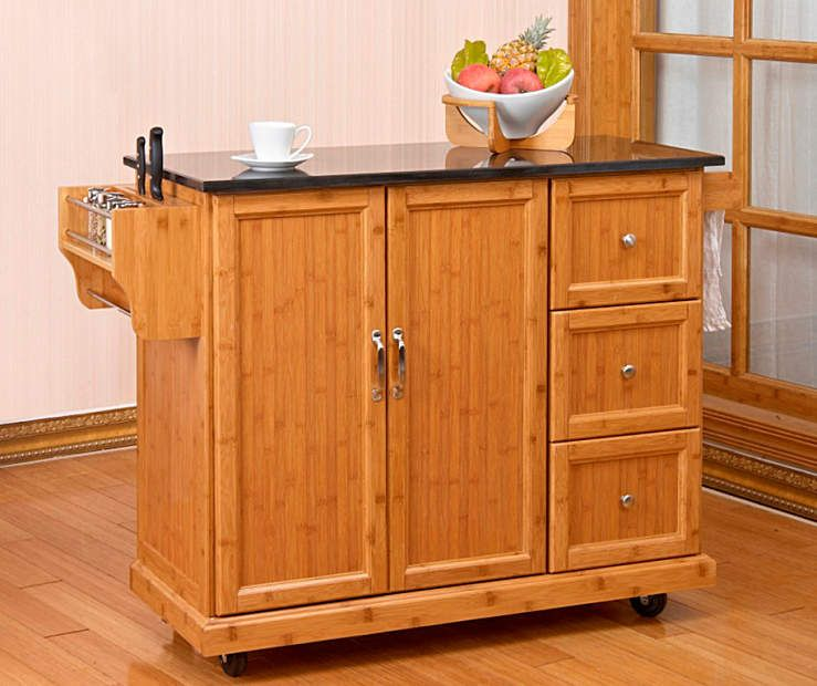Bamboo 2 Door Kitchen Cart With 3 Drawers At Big Lots Kitchen