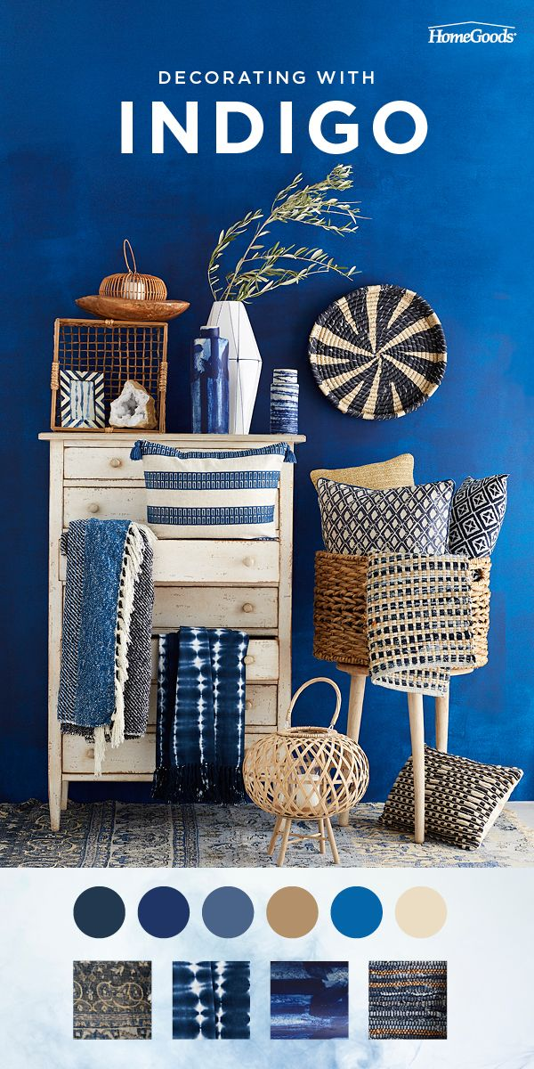 Make a stylish update to your home with indigo.  Upholstered pieces, textiles, p...