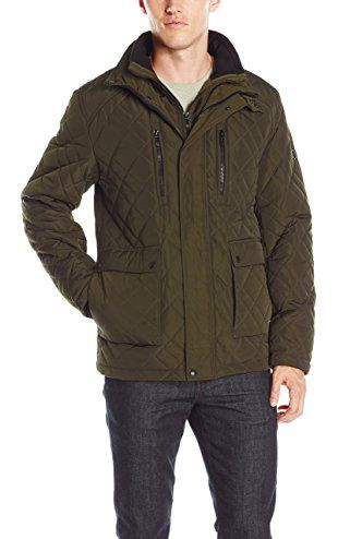 Calvin Klein Men S Quilted Barn Jacket Military Green X Large Calvin Klein Mens Outerwear Calvin Klein Men Quilted Jacket Men Men S Coats And Jackets