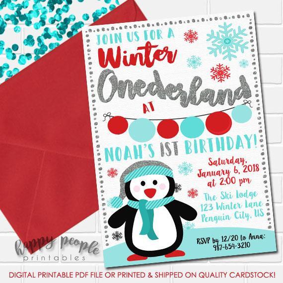 Boys Winter Onederland Invitation Onederland Birthday Invitation