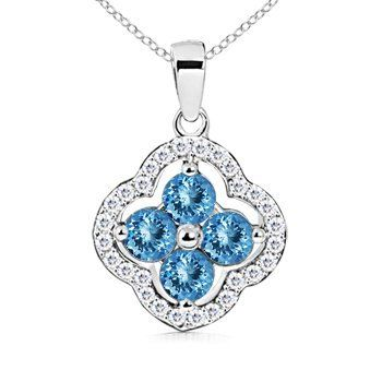 Angara Emerald-Cut Aquamarine Halo Pendant with Diamond Accents