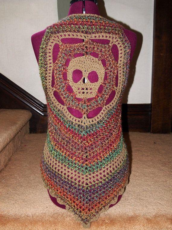 Day of the Dead crochet skull vest rainbow festie top