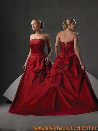 Preiswertes schönes Brautkleid aus Taft Bodenlang Trägerlos mit ...