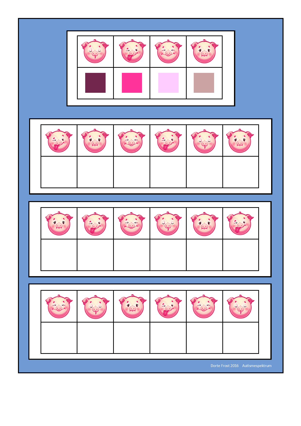 Board for the pig visual perception game. Find the belonging tiles ...