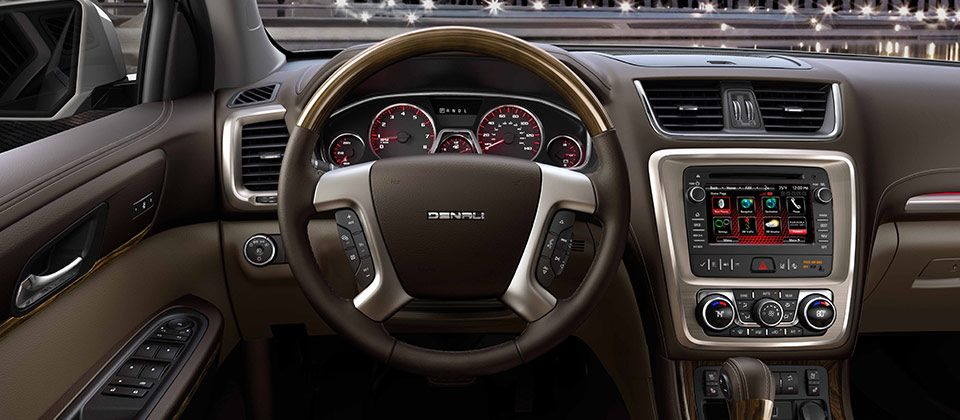 The 2016 Gmc Acadia Denali Mid Size Luxury Suv With Standard Mahogany Wood Grain Trimmed Steering Wheel Luxury Crossovers Acadia Denali Luxury Suv