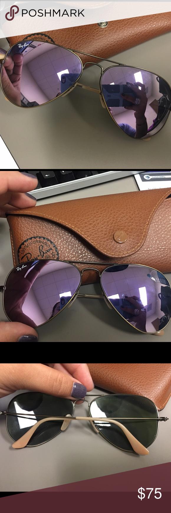 3165080ab3434 Rayban Aviator Sunglasses hardly worn rayban lilac mirror aviator sunglasses.  I love them