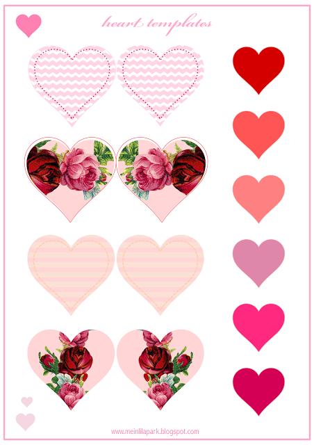 Free printable heart templates - Valentines - Herzen - freebie ...