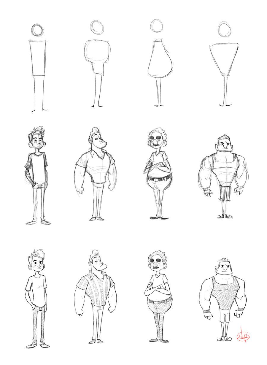 Character shape sketching 1 with video link by luigil for How to doodle characters