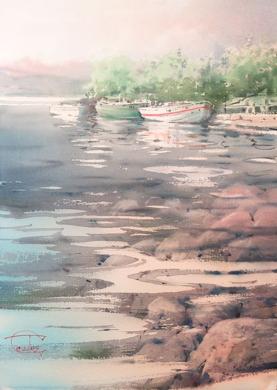 Yasnoe Iyulskoe Utro Clear July Morning Watercolor In 2019