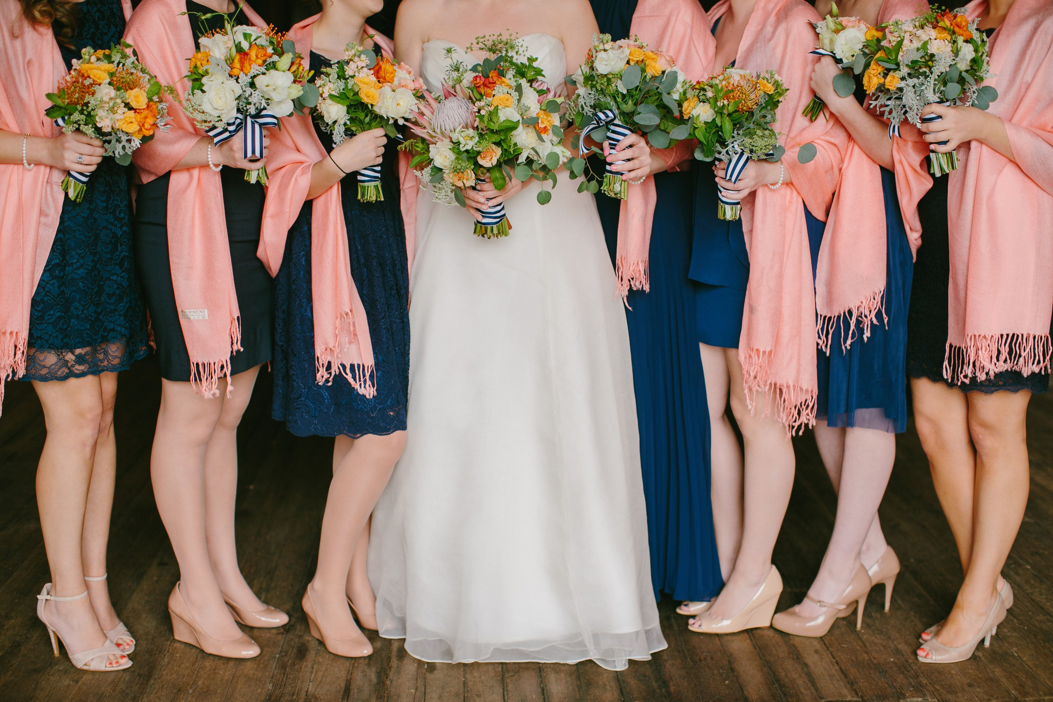 Mixed Navy Bridesmaids Dresses Nautical Striped Bouquets And C Scarves The Bouquet Ribbons Are Ugly But Matching Pasminas Nice