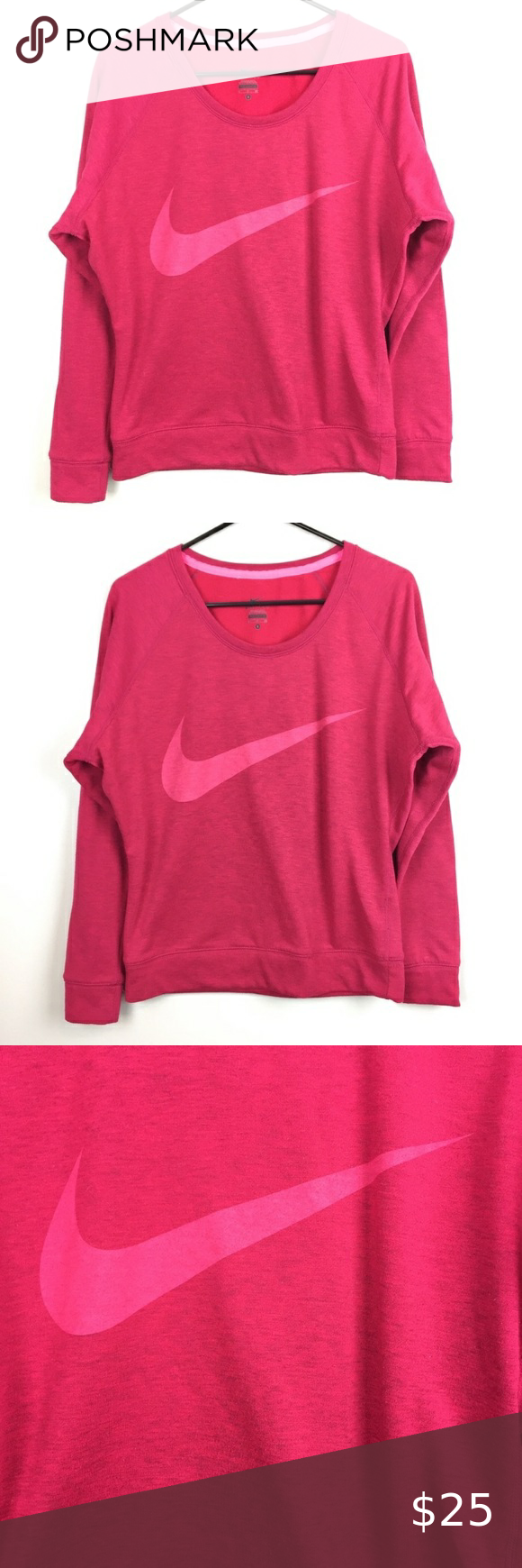 Nike Pink Dri Fit Logo Swoosh Sweatshirt S Nike Dri Fit Pullover Sweatshirt Features A Darker Pink Color With A Lighter Pi Sweatshirts Clothes Design Pullover [ 1740 x 580 Pixel ]