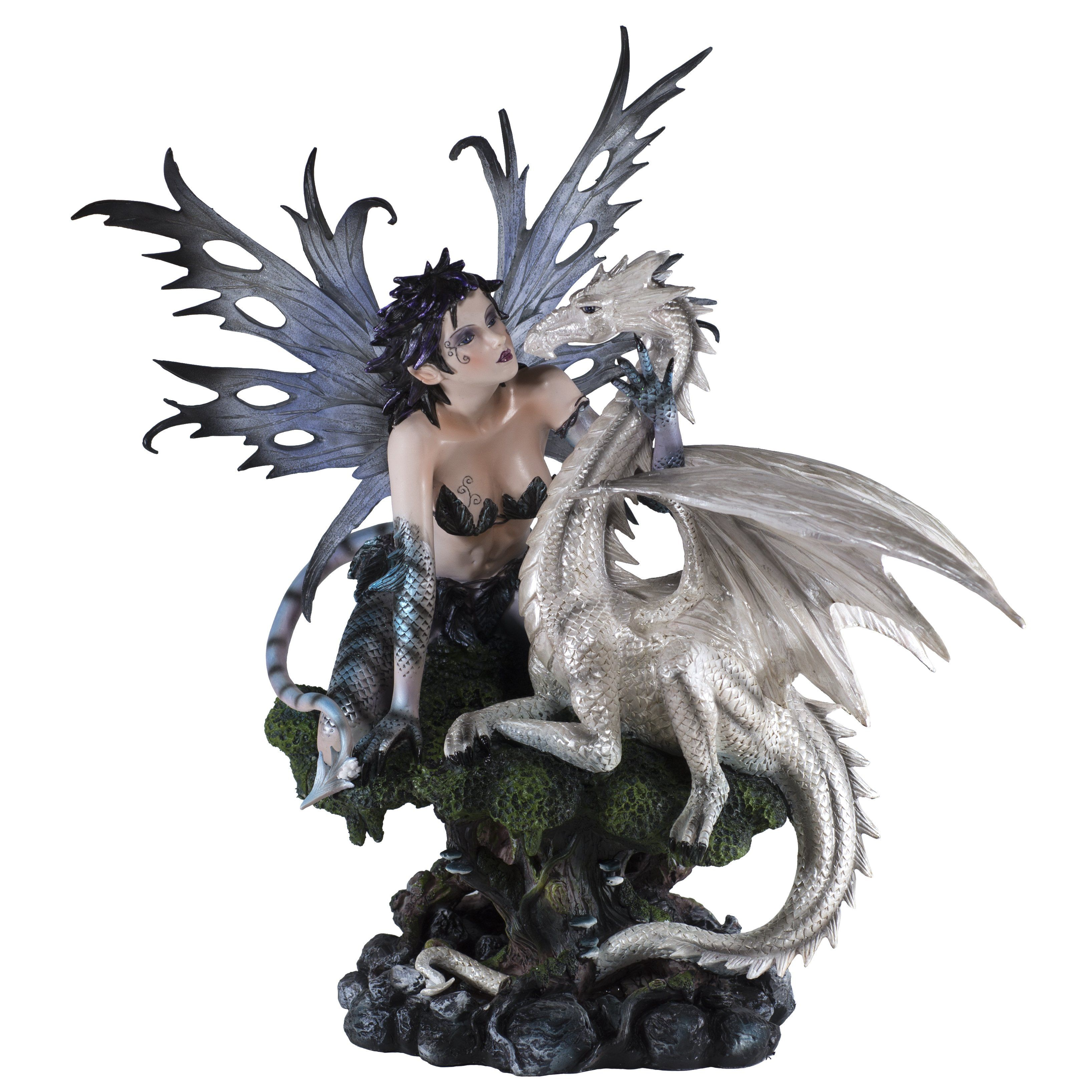 Large Scale Fairy With Tail And White Dragon Figurine Statue 18 Fairy Statues Dragon Figurines Fantasy Statue