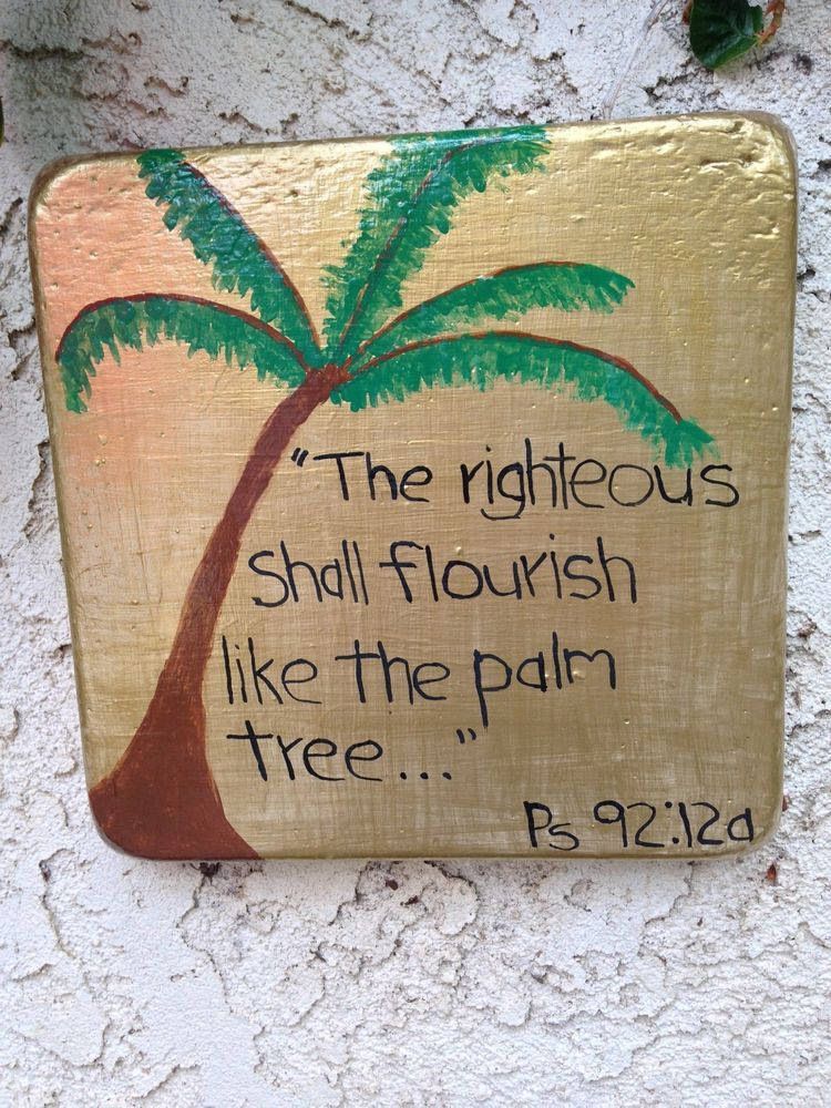 Handcrafted Cement Gold Square Wall Plaque With Psalm Palm Tree