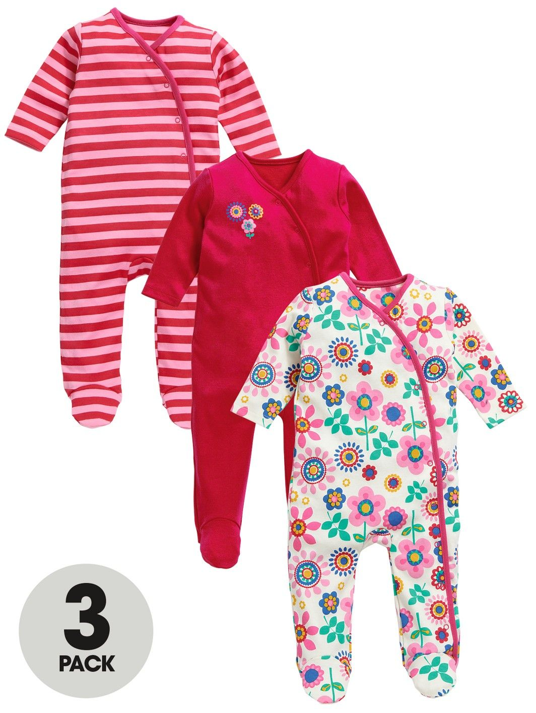 25e8b641c3c8 Ladybird Baby Girls Flower Sleepsuits (3 Pack)