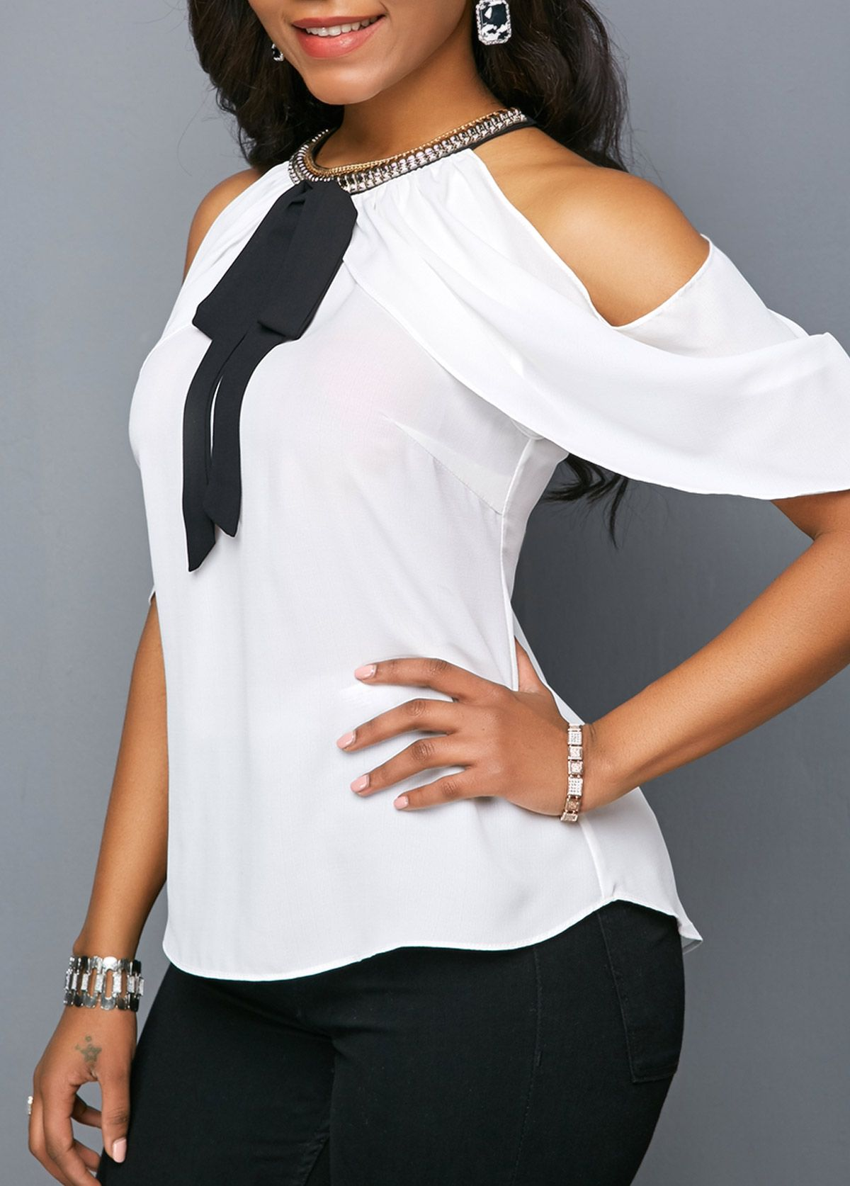 6dee9dc5b3c2 Embellished Neck Bowknot Detail Cold Shoulder Blouse | Rosewe.com - USD  $29.05