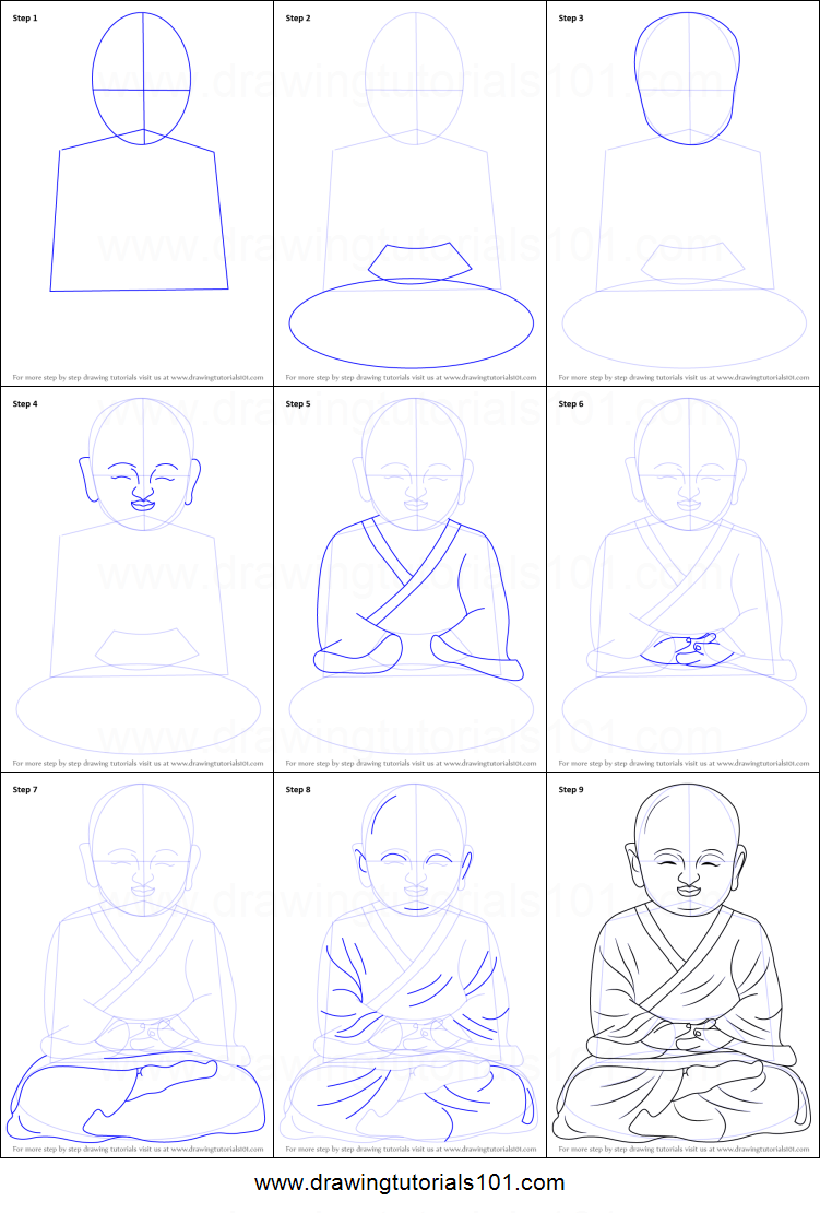 How to draw a child buddha printable drawing sheet by drawingtutorials101 com