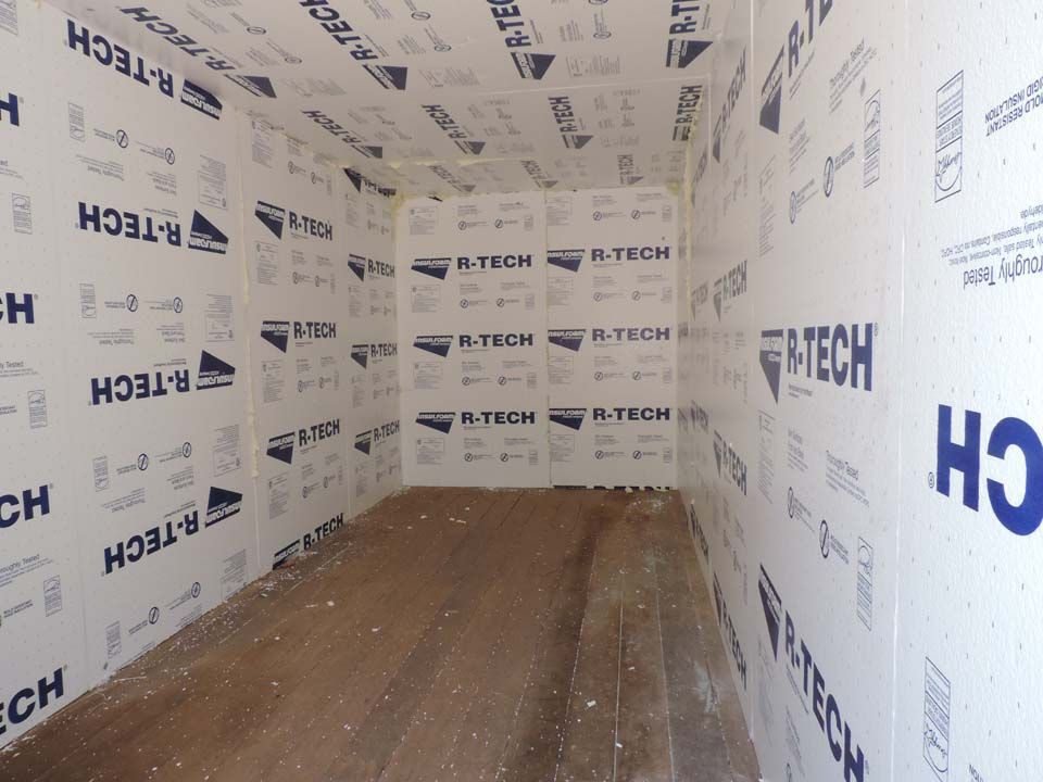 Shipping container with 2 foam board insulation spray foam behind the board too an idea in - How to insulate a shipping container home ...