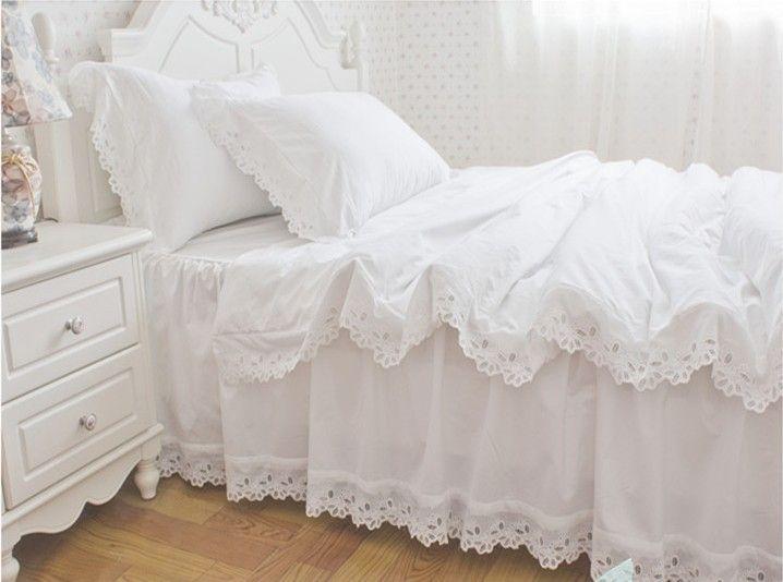 4 PC / 6 PC accueil textile blanc dentelle couvre lit en coton