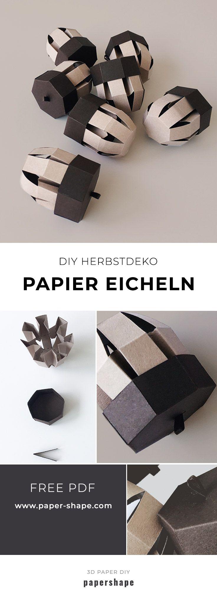 Diy Eicheln Aus Papier Basteln Kostenlose Vorlage Basteln Mit