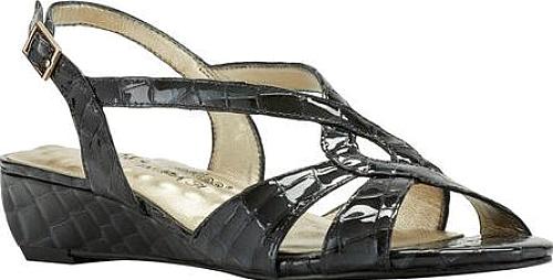 Walking Cradles Dixie Demi Wedge Slingback in Navy Croco Print Leather