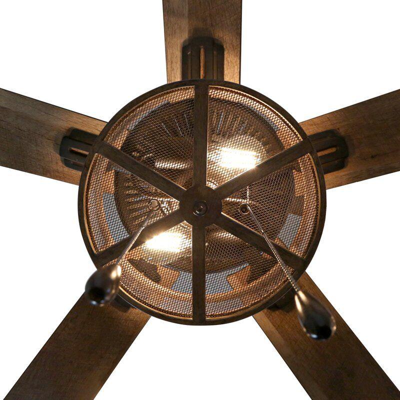 52 abbigail woodgrain caged farmhouse 5 blade ceiling fan