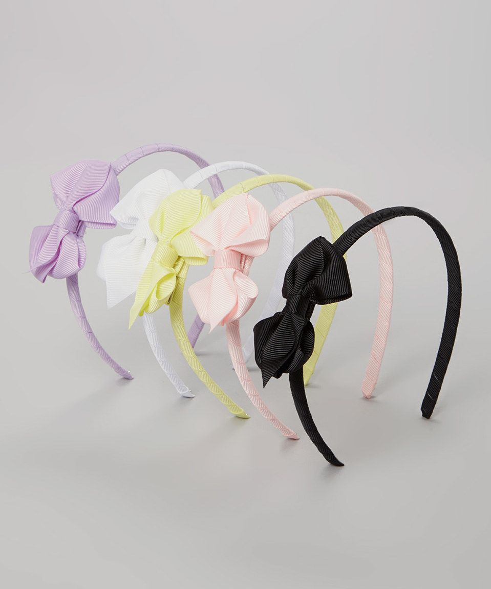 This Lavender & Light Pink Bow Headband Set by Miss Fancy Pants is perfect! #zulilyfinds