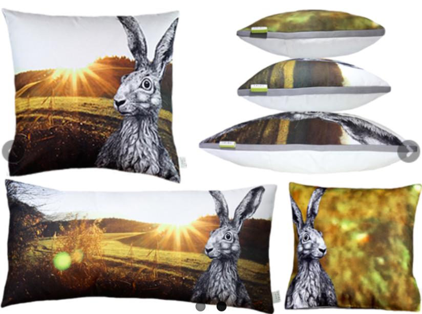 #hare #meadow #sun #love #light #warmth #cushion #gots #vegan #fair #madewithlove #handmade // #feldhase #hase #sonne #liebe #wärme #licht #mitliebegemacht #kissen #öko #bio