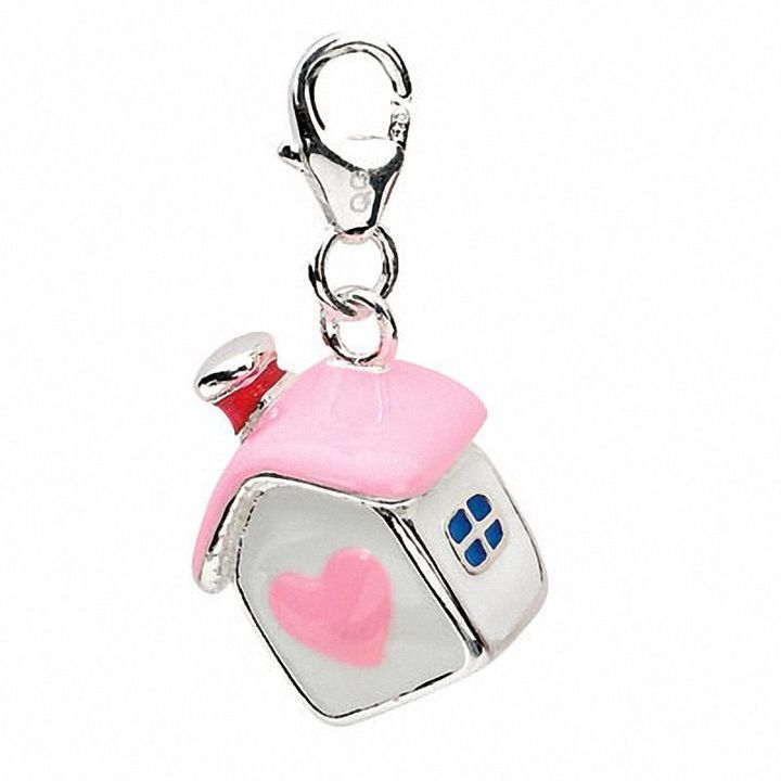 Amore La Vita Sterling Silver Enameled Teddy Bear with Lobster Clasp Charm