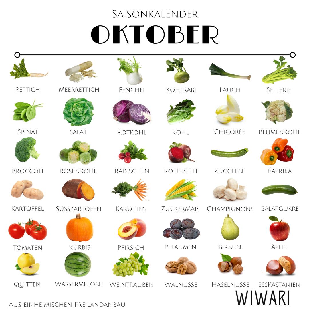 Saisonkalender Oktober   Saisonkalender Gemüse und Obst Oktober ...