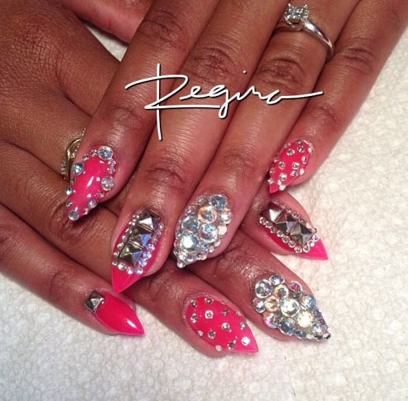 Pink and silver 3D nails