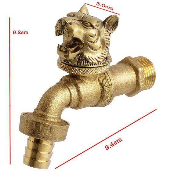 Brass Garden Tap Faucet Vintage Water Home Decor Tiger Spigot