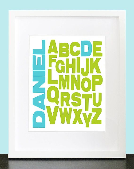 Alphabet Wall Art Typography Print Personalized Name Wall Art Abc Wall Poster 8x10 Baby Children Nursery Wall Pr Abc Wall Alphabet Wall Art Name Wall Art