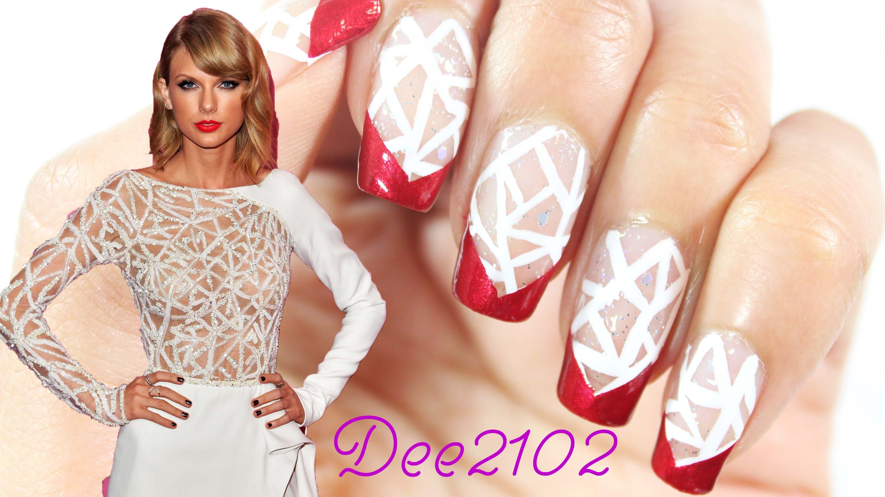 Taylor Swift Inspired Nails The gorgeous print on her dress
