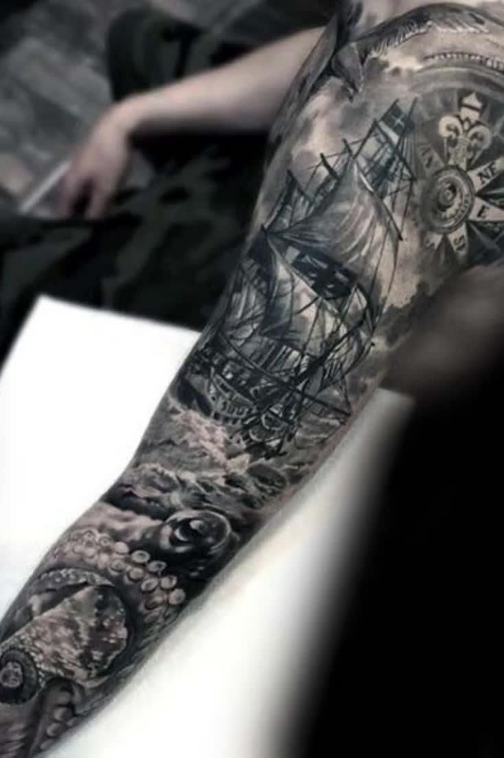 Photo of 40 Nautical Sleeve Tattoos For Men – Seafaring Ink Deisgn Ideas
