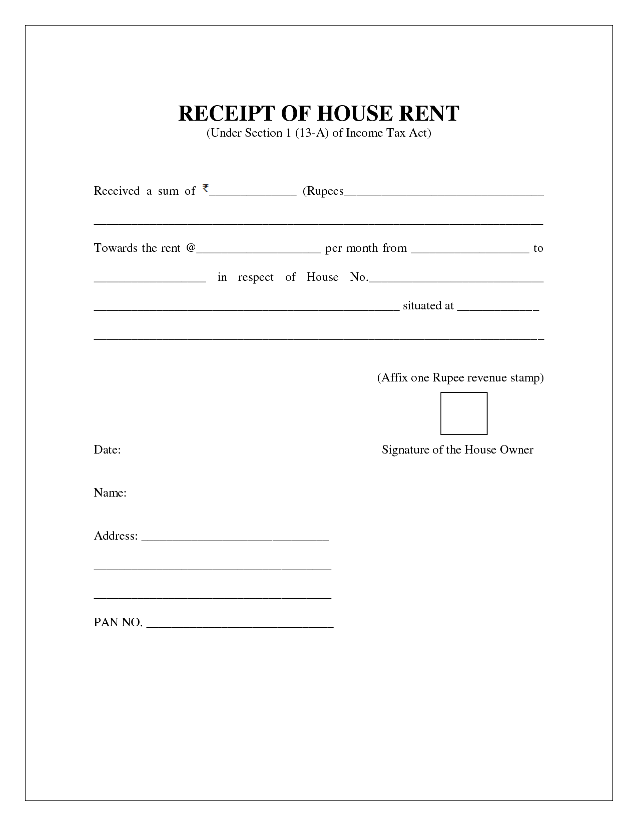 Exceptional Template With Format For House Rent Receipt