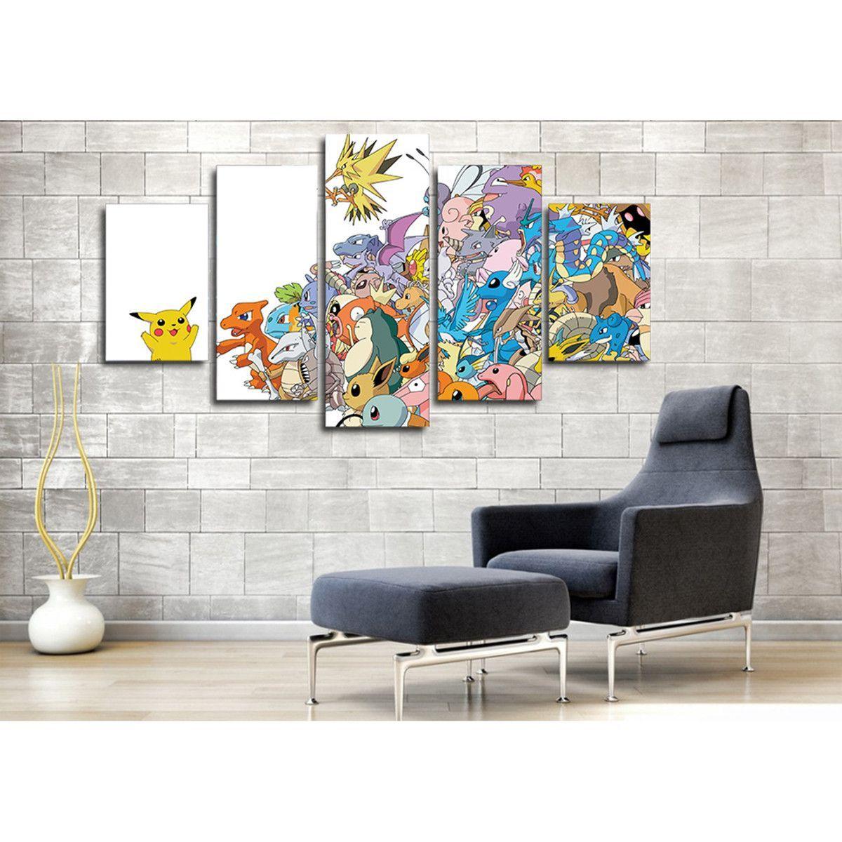 Pokemon 5pcs Large Canvas Print Art Painting Picture Home Decor Wall ...