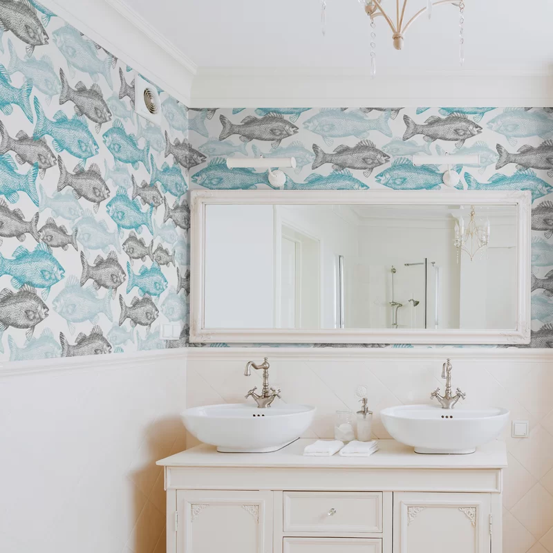 Branch Fish Nautical Removable Peel And Stick Wallpaper Panel In 2020 Powder Room Wallpaper Removable Wallpaper Bathroom Wallpaper Panels