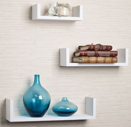 Floating Wall Shelf Set 3 Mounted U Shape Shelves Small Medium Large White Wood Contemporary