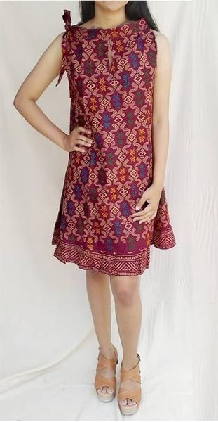 Gaun Batik Klok Ulos Marun Baju Batik Murah Dress Batik Daster