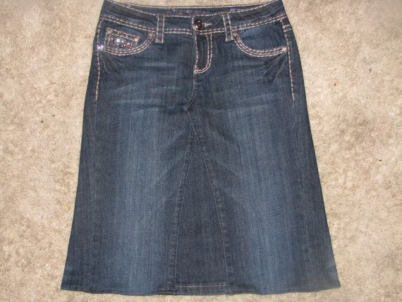 Size 9/10 waist 31 Jean Skirt made from a by ModestlyBeautiful, $49.00