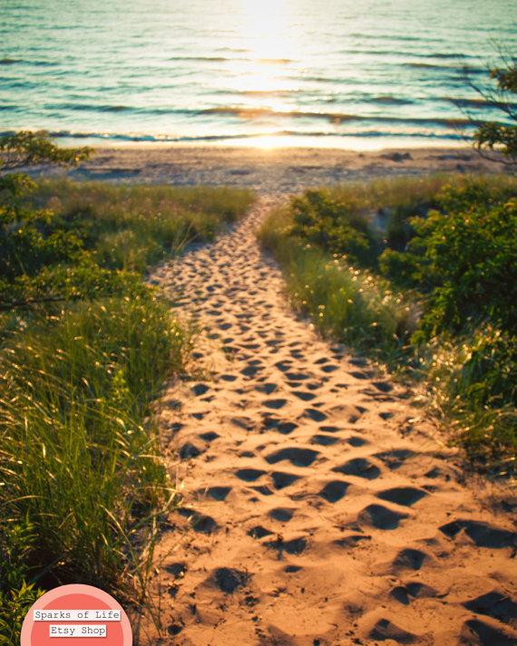 Sand path to the water. Lake Michigan <3