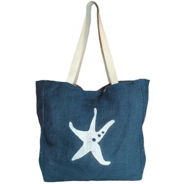 Starfish Jute Beach Bag ($51) ❤ liked on Polyvore featuring bags, handbags, beach bag, over the shoulder bags, embroidered purse, jute beach bag and jute handbags