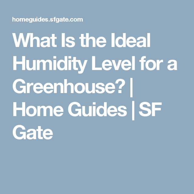 What Is The Ideal Humidity Level For A Greenhouse? | Home Guides | SF Gate