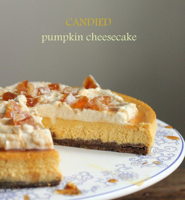 Candied Pumpkin Cheesecake with Maple Cream  Vintage Kitchen Notes
