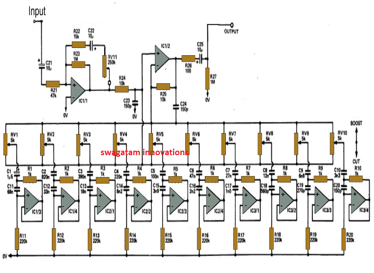 10 band graphic equalizer circuit for home theater applications rh pinterest co uk led graphic equalizer circuit diagram graphic equalizer concept circuit diagram and operation