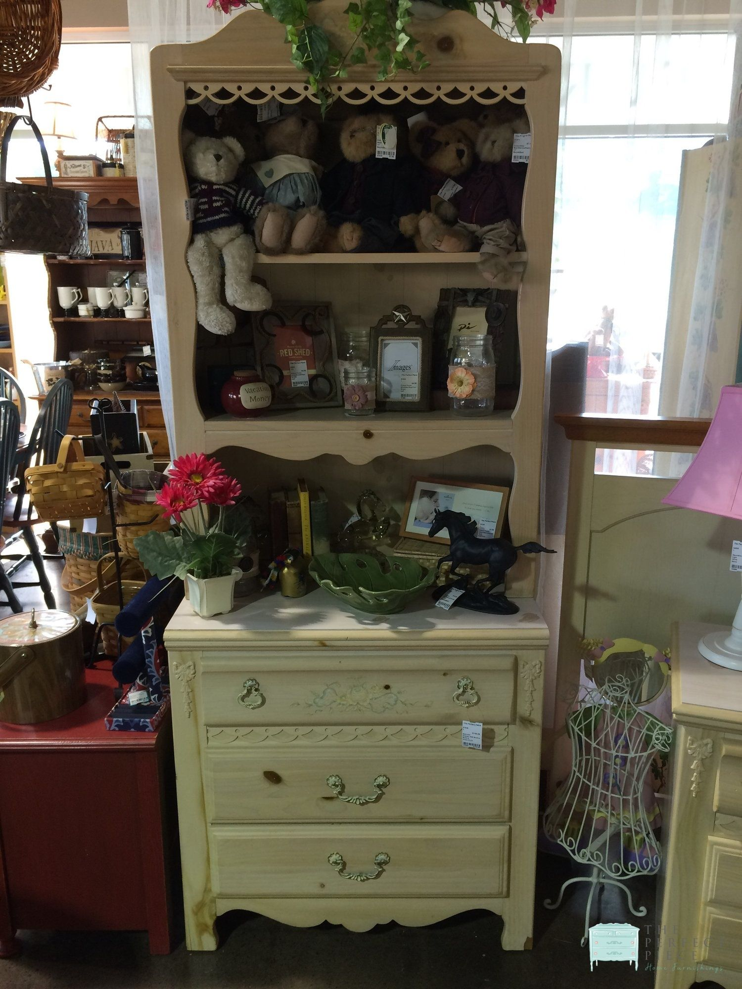 This Adorable Painted Pine Dresser With Bookcase Top Would Be Perfect In A Girl S Room There Are Wood Bow Accents An Home Furnishings Furnishings Pine Dresser